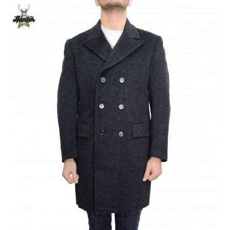 Cappotto Militare in Lana Doppiopetto Grigio