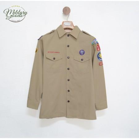 American Boy Scout Of America Uniform Shirt Khaki Long Sleeves